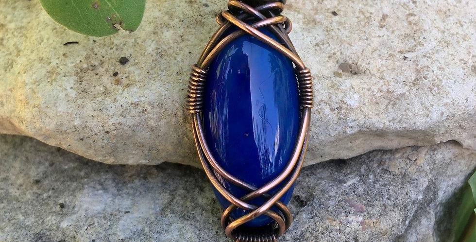 Blue Agate Oval in Copper
