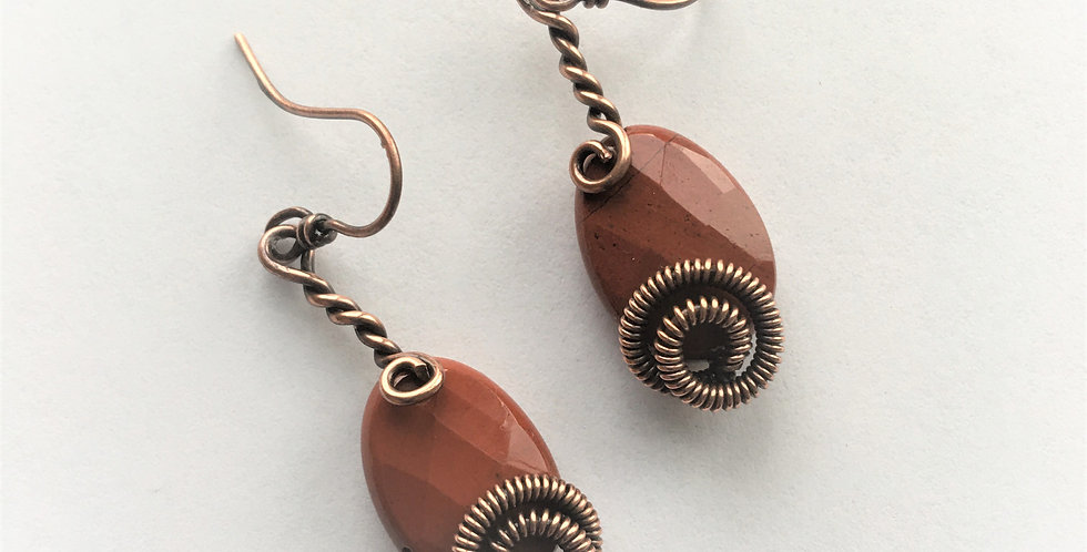 Faceted Red Jasper & coiled copper spirals