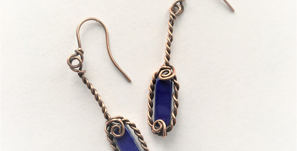 Blue Czech Glass in twisted copper