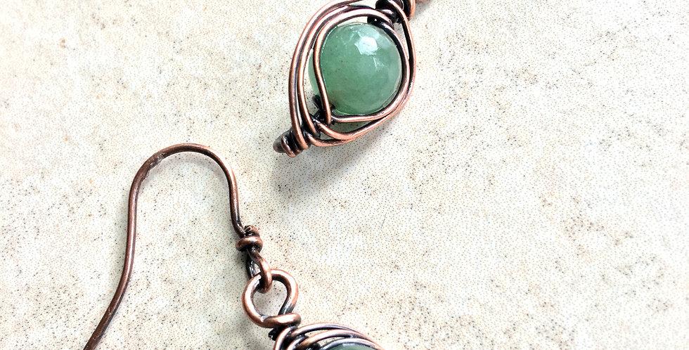 Herringbone Weave & Green Aventurine Bead