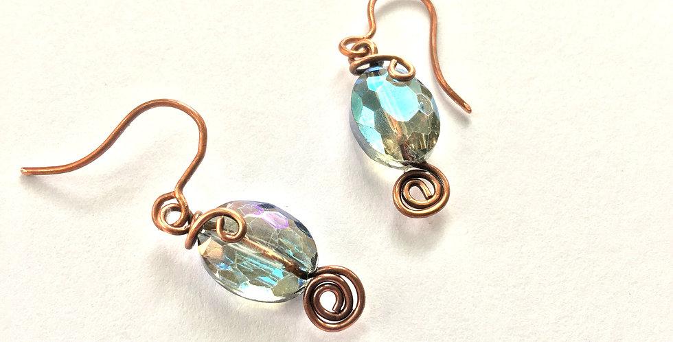 Blue Sparkles & Copper Spirals