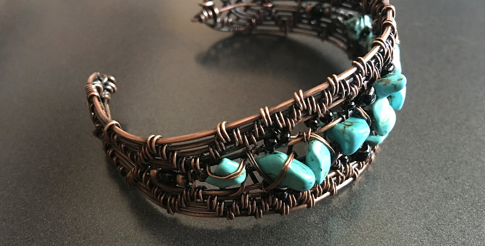 Turquoise Chips in Woven Copper Cuff