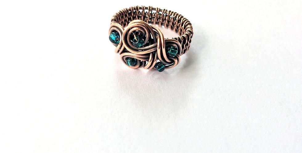 Swirls & Glass Seed Beads Ring Sz 7