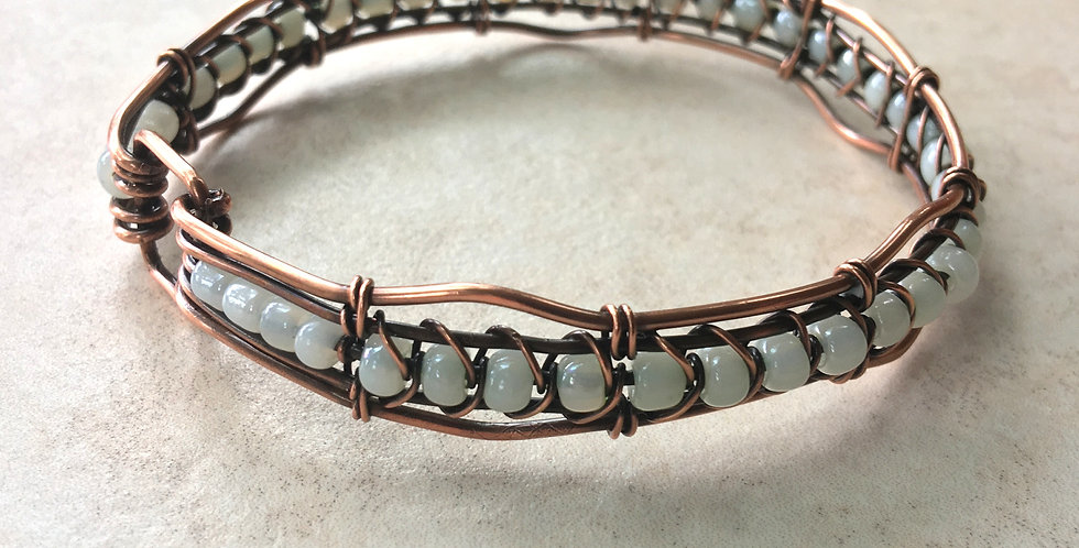 Pale Blue Beads in Woven Copper Bangle