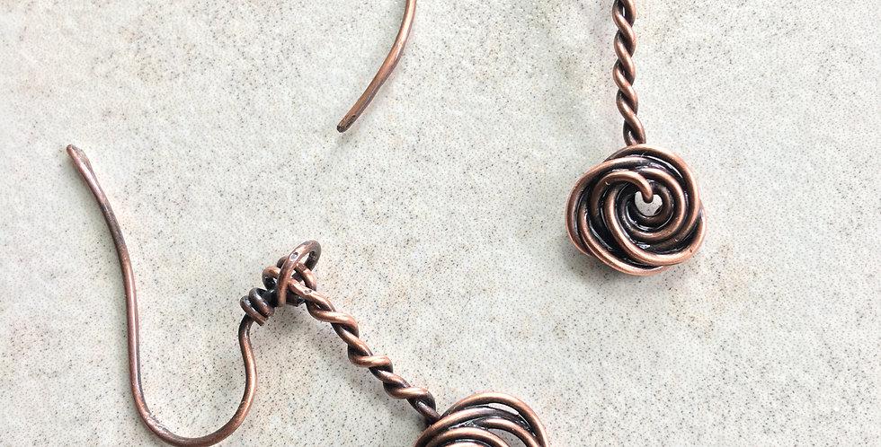 Copper Rosette Dangles