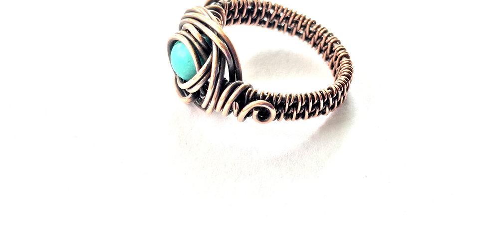 Turquoise Bead Ring Sz 7