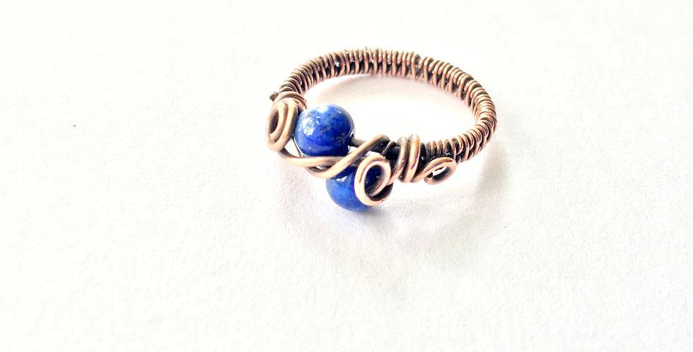 Lapis Lazuli 2 Bead Ring Sz 6