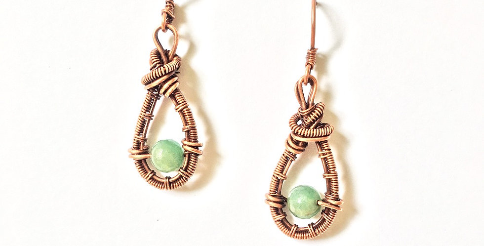 Aventurine Beads in Copper Teardrop