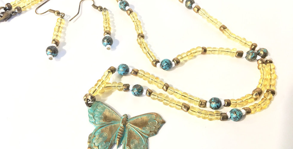 Butterfly Pendant Glass & Metal Beads & Earrings