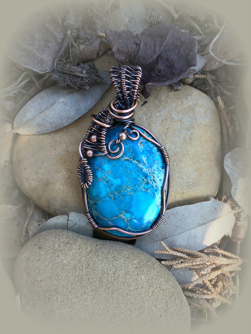 Blue sea sediment jasper oval in copper pendant aloadofball Image collections