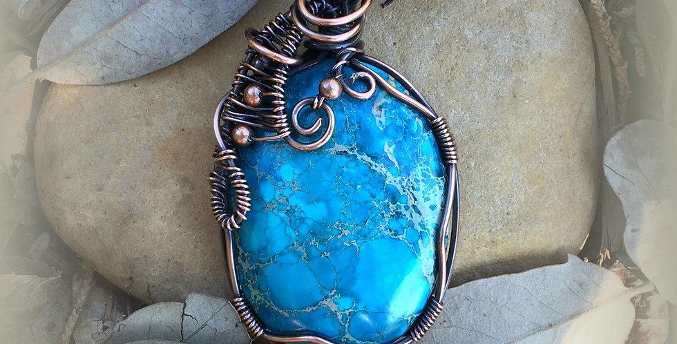 Blue Sea Sediment Jasper Oval in Copper