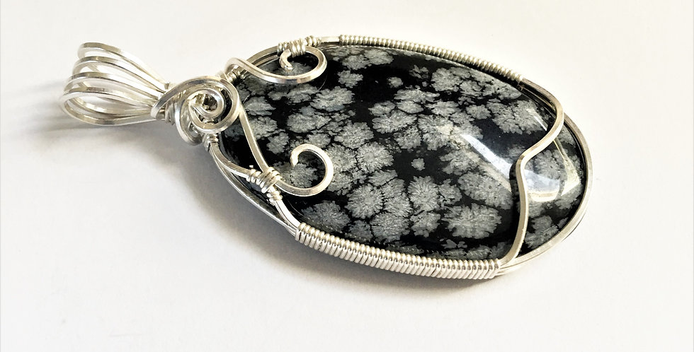 Snowflake Obsidian in Bright Silver