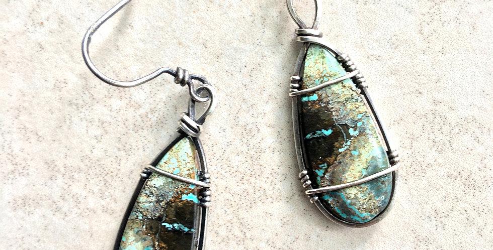 Tibetan Turquoise Teardrops in Sterling Silver