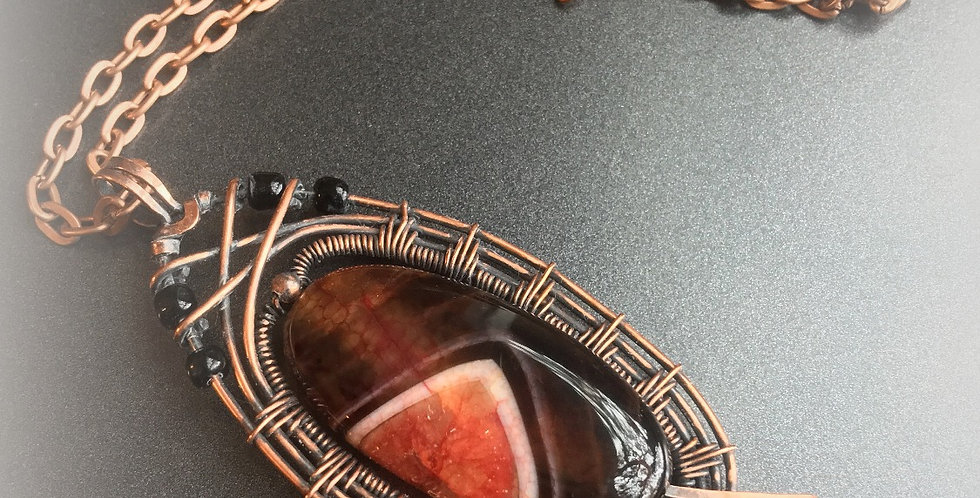 Orange & Black Agate Tall Oval
