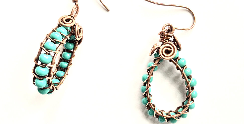 Turquoise-colored Beaded Loops