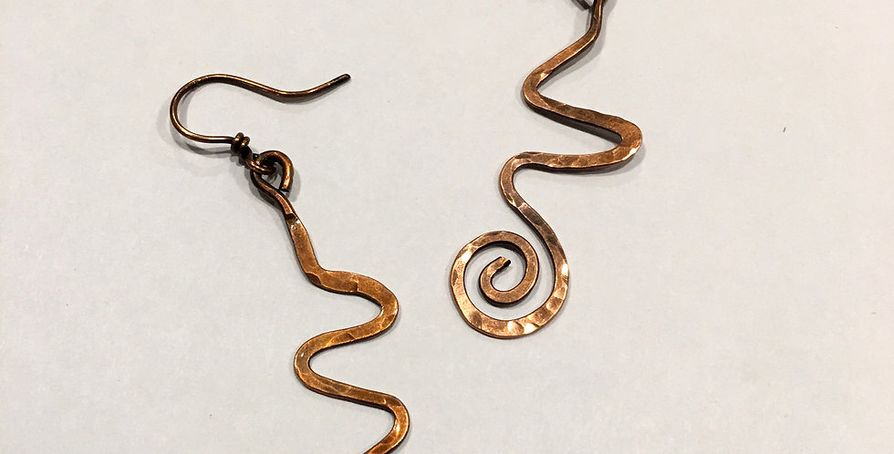 Long Hammered Copper Squiggles