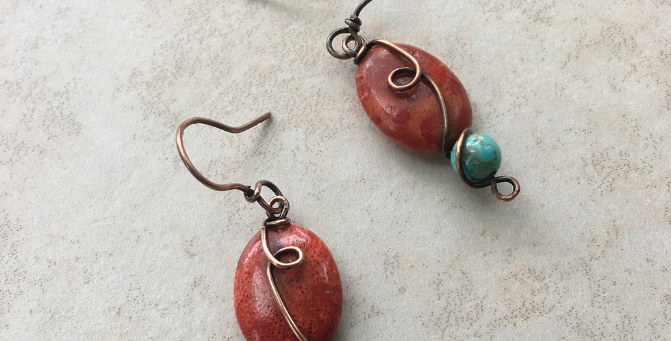 Coral, Turquoise & Copper Swirls