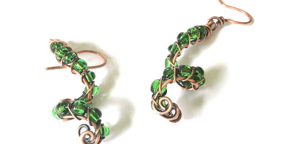Green Beads in Copper Spirals