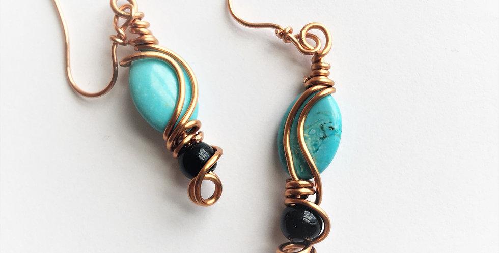 Howlite Ovals & Glass