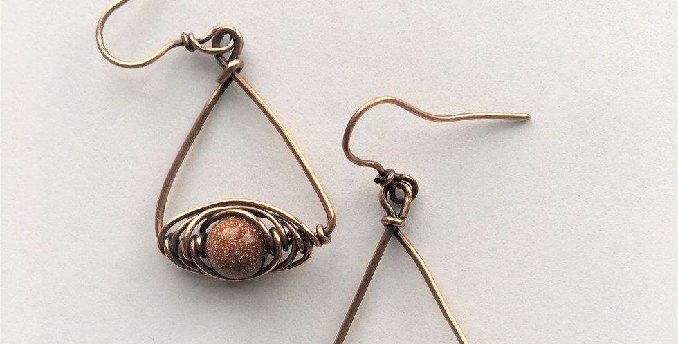 Goldstone bead in copper triangles