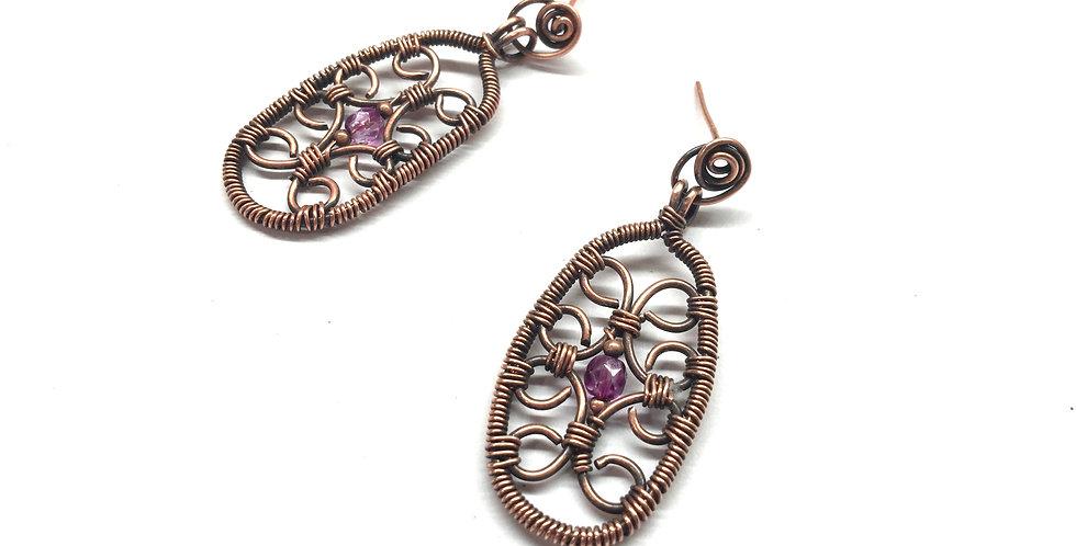 Copper Swirls in Oval Frame w/ Purple Bead