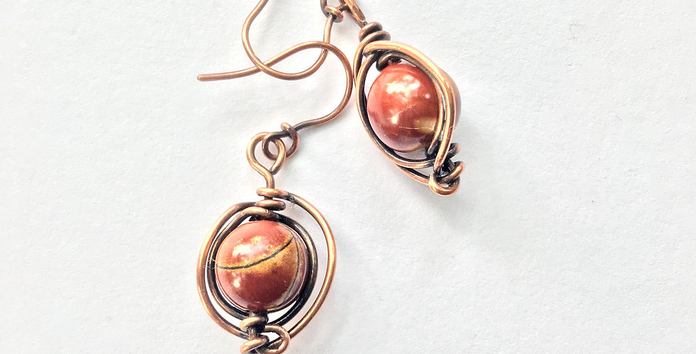 Red Jasper Beads Herringbone Copper Weave