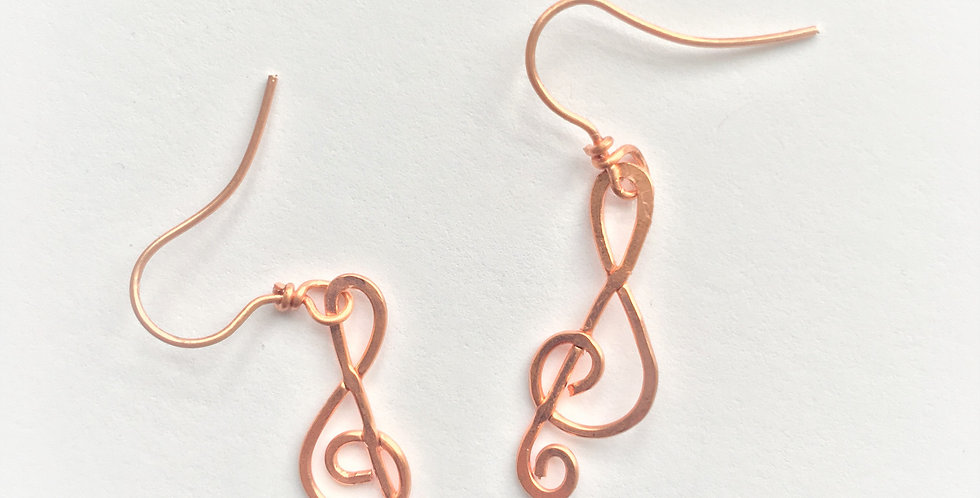 Small Hammered Copper Clefs