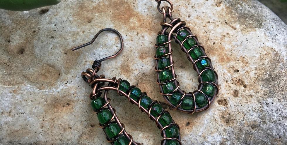 Green Glass Beads in Teardrop Frame