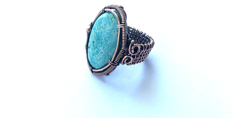 Turquoise Cabochon Woven Ring Sz 8
