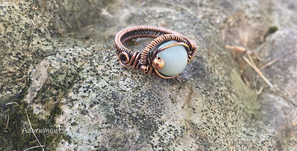 Amazonite Bead Ring Sz. 5 1/2