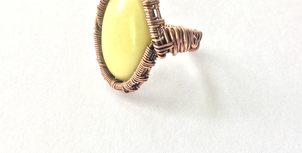 Serpentine Cabochon Ring Sz 7 1/2
