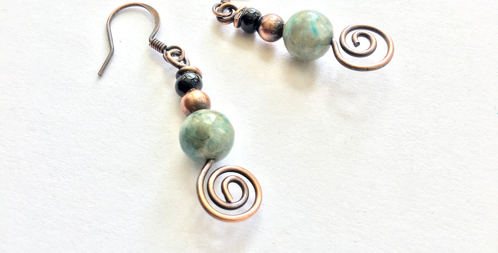 African Turquoise, Copper & Glass Beads