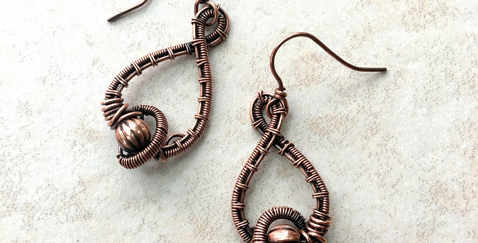 Woven Loops & Grooved Copper Beads