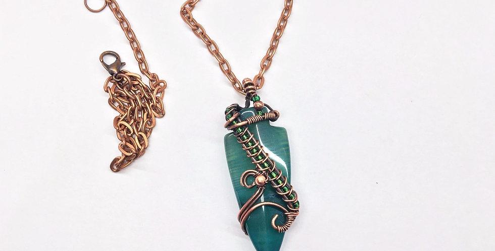 Green Agate Arrowhead in Copper