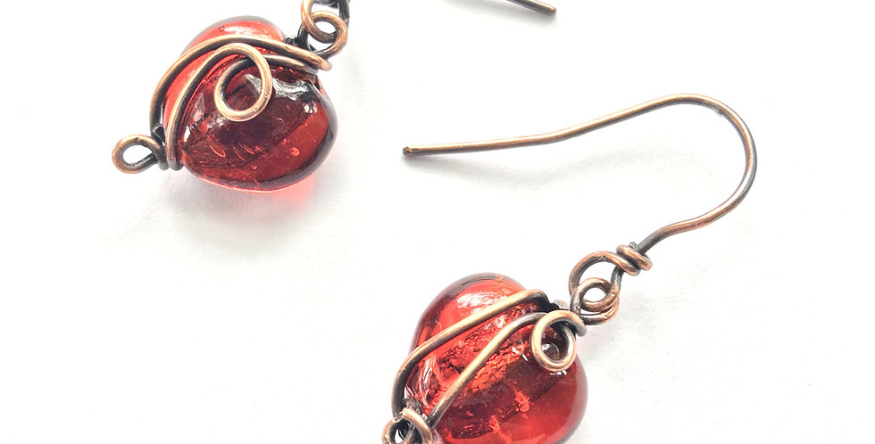 Glass hearts in copper