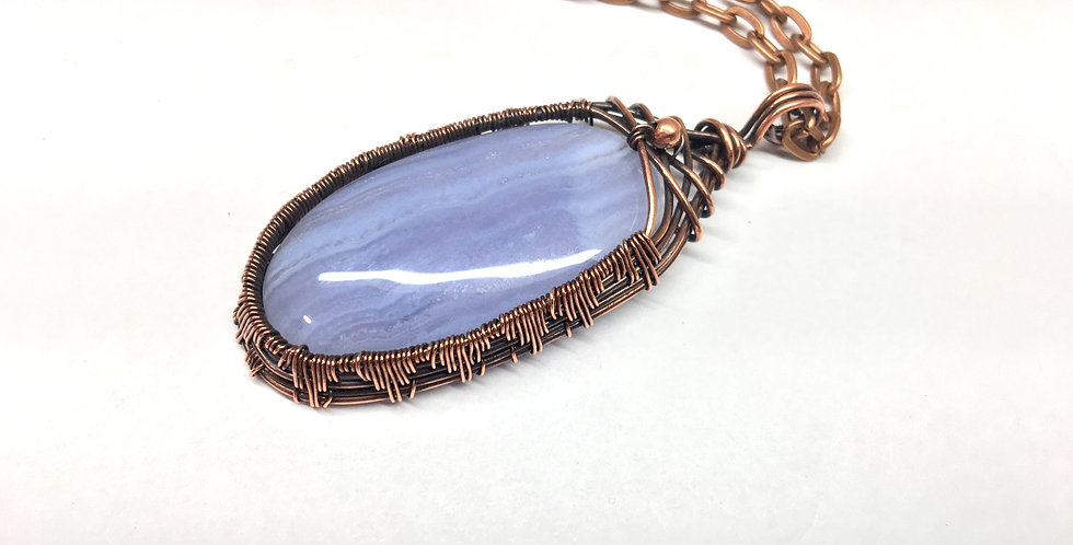 Blue Lace Agate Tall Oval 1