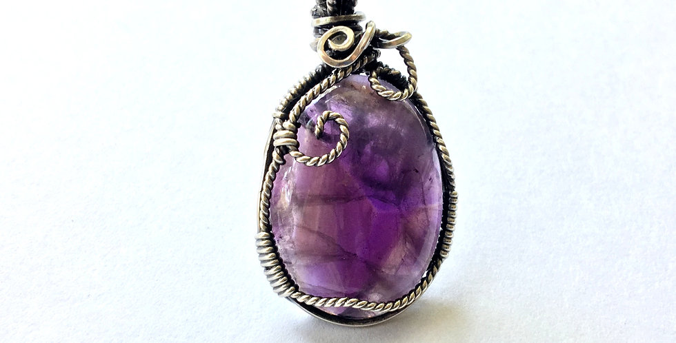 Amethyst Oval Pendant in Antiqued Sterling Silver