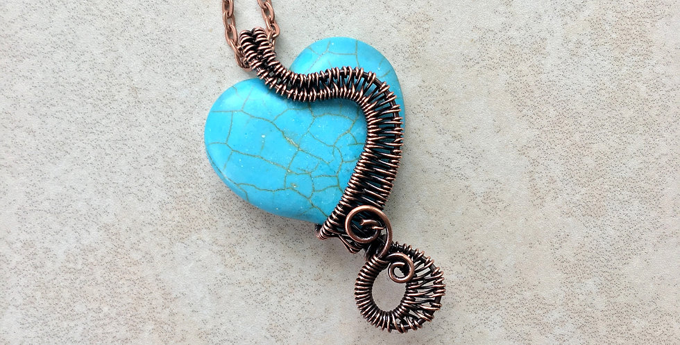 Turquoise Heart in Copper Weave