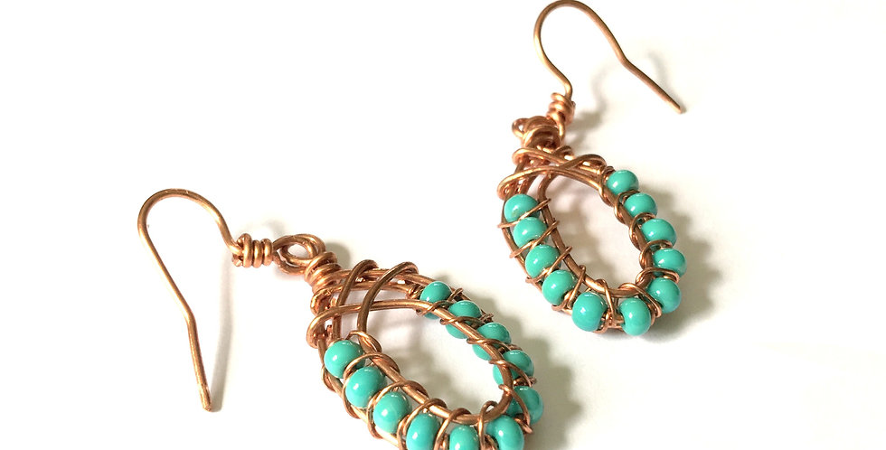 Turquoise-Colored Beads in Bright Copper