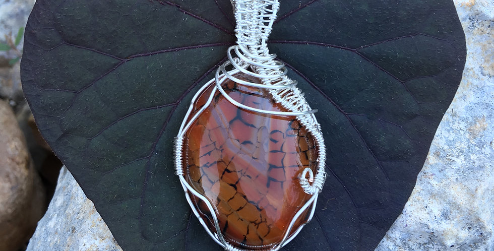 Brown Dragon Vein Agate Oval
