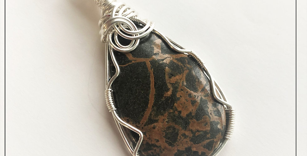 Spiderweb Jasper in Fine Silver
