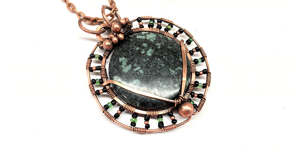 "Large Green Jasper Round ""Amulet"""