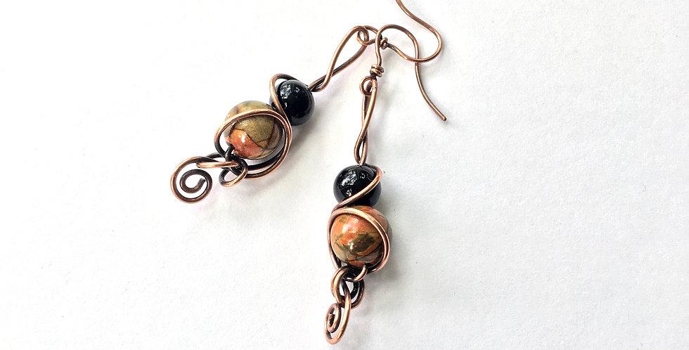 Picasso Jasper, Onyx & Copper Swirls