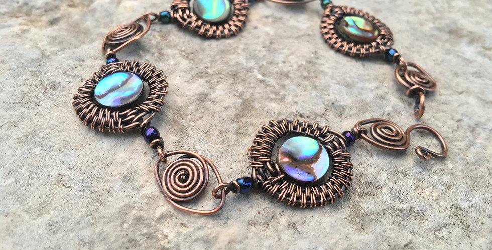 Abalone & Glass beads in Woven Copper Bracelet