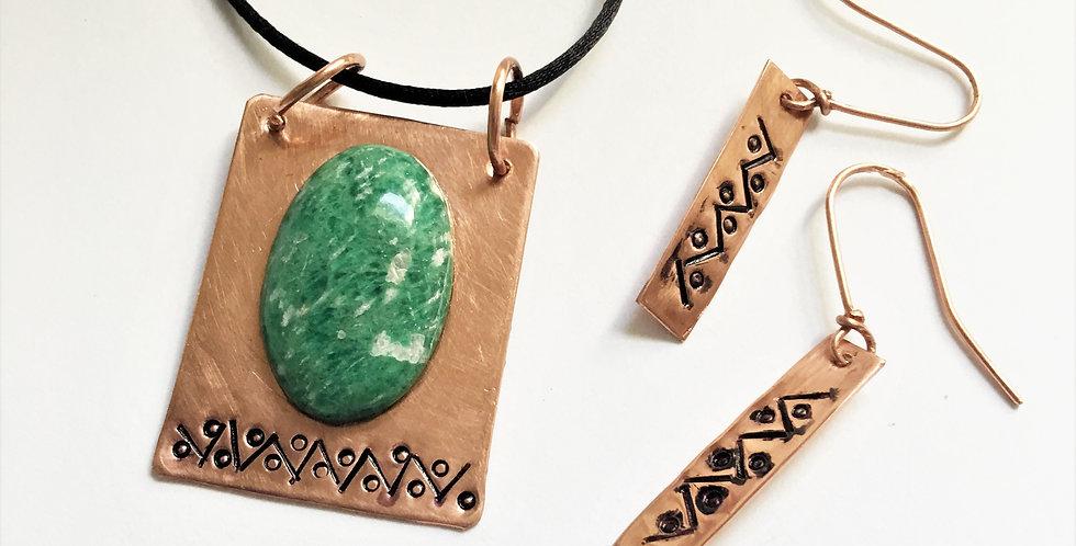 Amazonite  on Hammered Copper Set