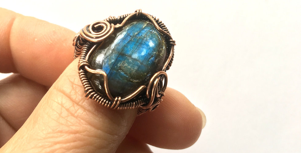 Labradorite Cabochon Ring Sz. 10