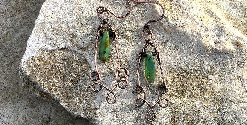 Green Glass & Copper Wire