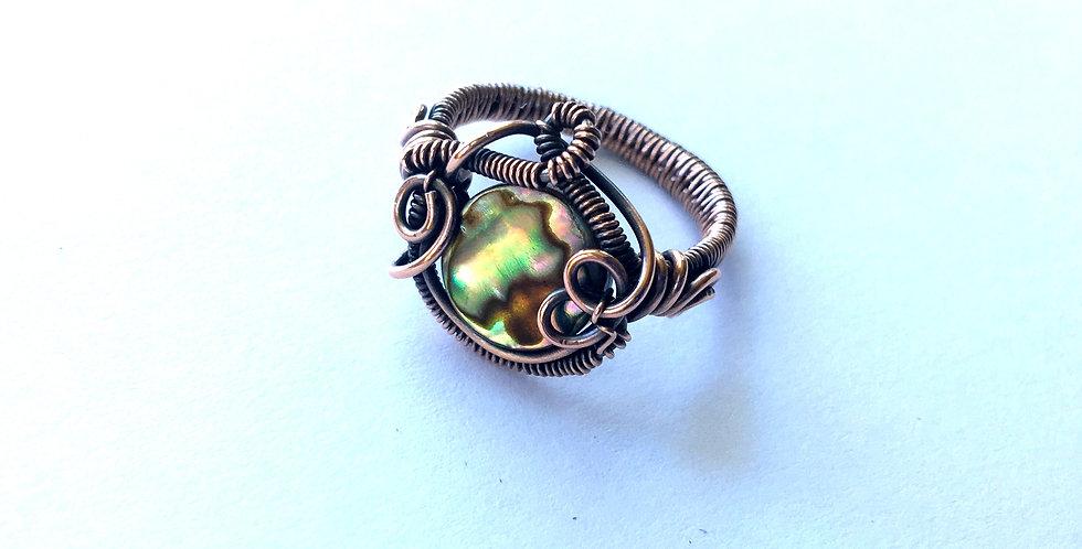 Abalone Shell Bead Ring Sz 7