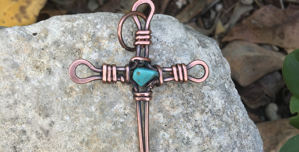 Simple Rustic Copper Cross with Turquoise