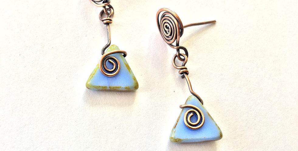 Blue Czech Glass Triangle Dangles (post earrings)
